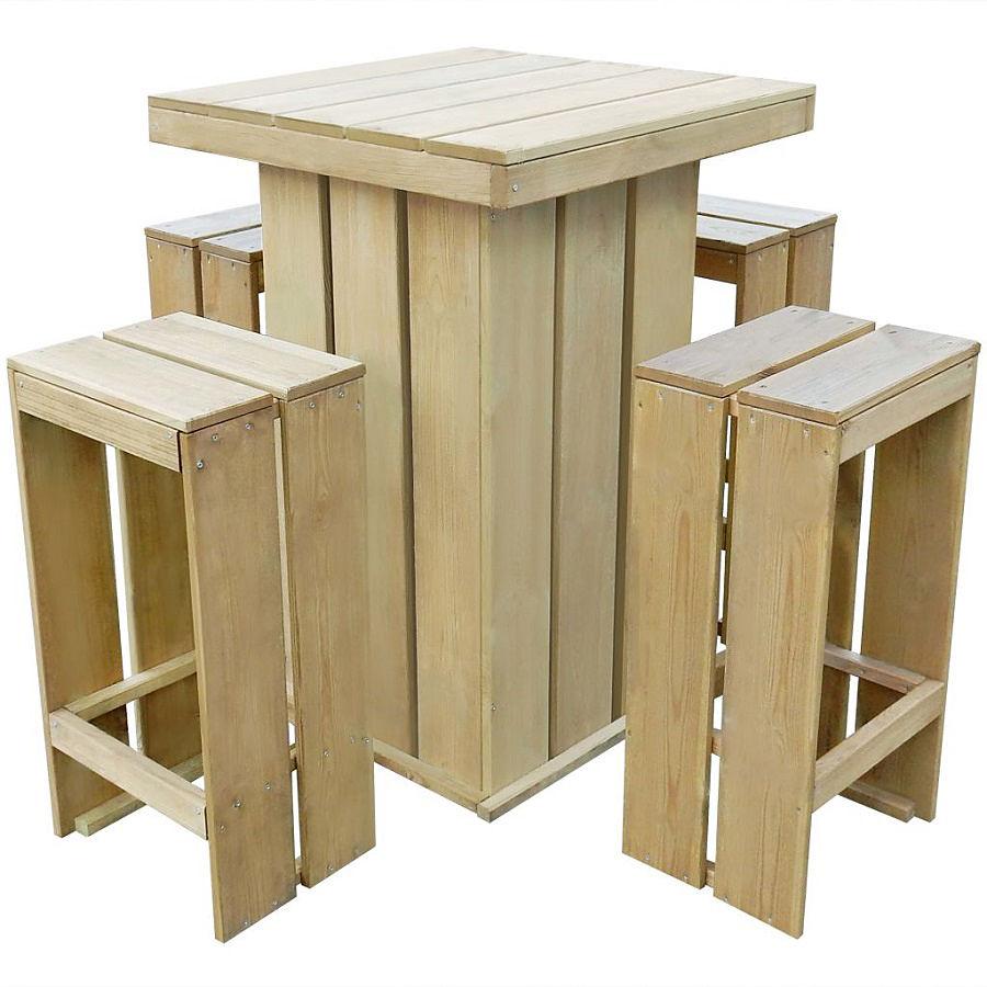 Zestaw drewnianych mebli ogrodowych - Elaine