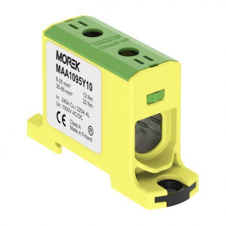 Złączka szynowa gwintowa do łączenia przewodów AL/CU Złącze uniwersalne OTL 95 1P żółto-zielone Morek 3880