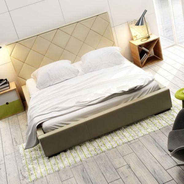 Łóżko QUADDRO CARO NEW DESIGN tapicerowane, Rozmiar: 140x200, Tkanina: Grupa II, Pojemnik: Bez pojemnika Darmowa dostawa, Wiele produktów dostępnych od ręki!