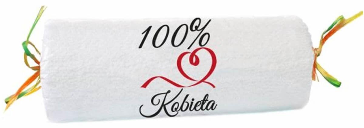 Ręcznik frotte z napisem 100% Kobieta biały