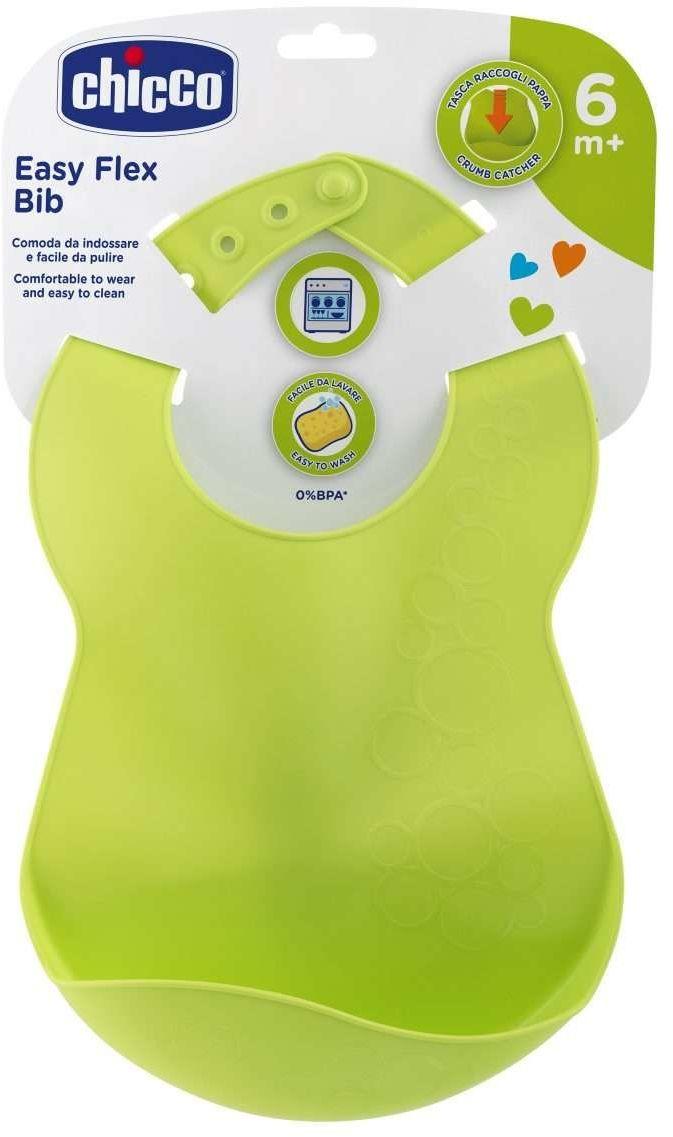 Elastyczny śliniaczek z kieszonką 6m+ Chicco Zielony, elastyczny śliniaczek z kieszonką