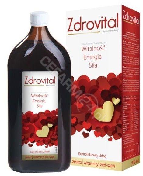 Zdrovital tonik witaminowy z żeńszeniem i żelazem, 900 ml