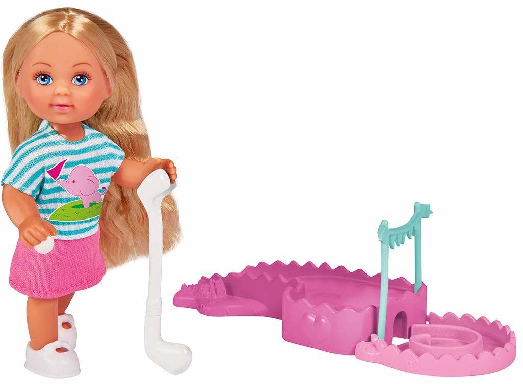 Evi Love Minigolf / lalka w słodkim letnim outfitu z bazą miniola, rakietki i piłkami
