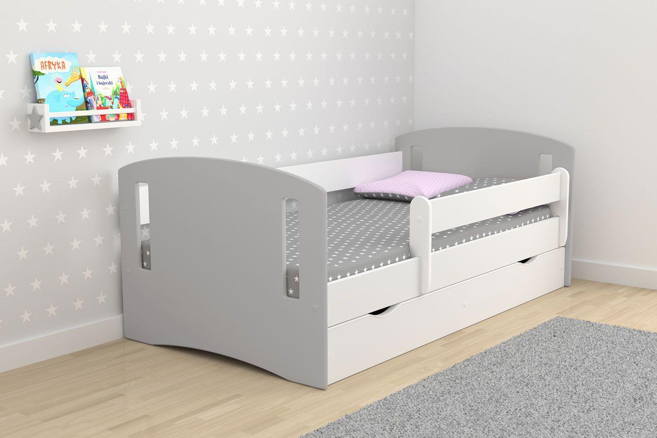 Łóżko dziecięce z szufladą Pinokio 3X mix 80x160 - szare