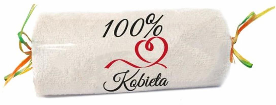 Ręcznik frotte z napisem 100% Kobieta ecru