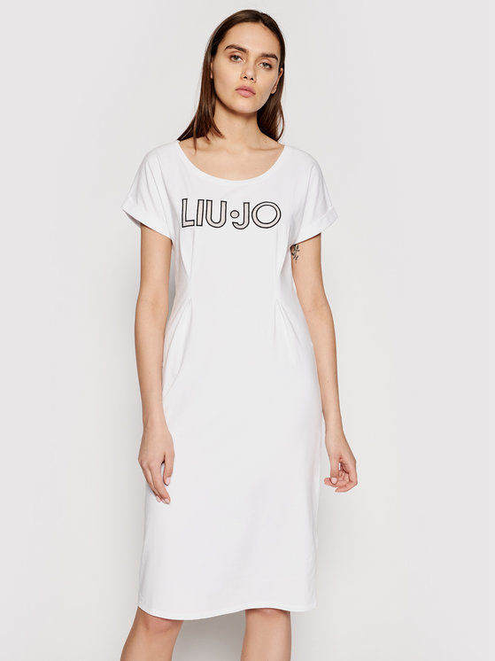 Sukienka codzienna TA1027 J5756 Biały Regular Fit