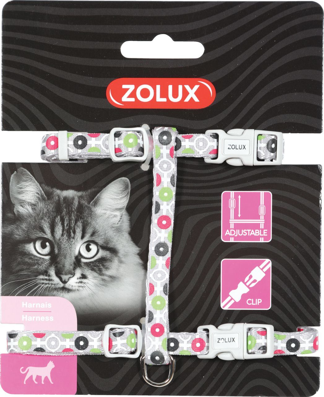 Zolux Szelki nylon regul. Arrow kol. szary