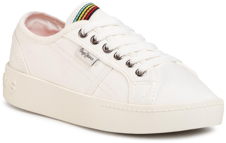 Pepe Jeans Sneakersy Brixton Canvas PGS30448 Biały