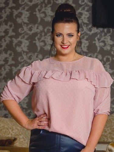 Bluzka elegancka szyfonowa z falbanką CARMEN puder róż w kropki