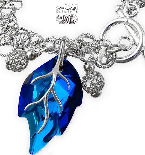 SWAROVSKI ozdobna bransoletka BLUE LEAF SREBRO