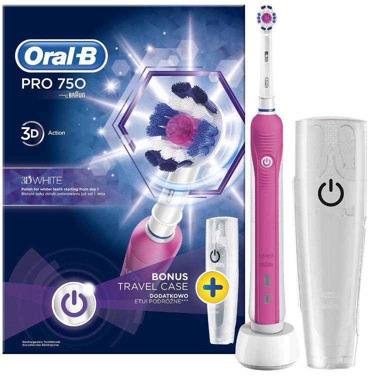 BRAUN Oral-B PRO-750 D16 PINK EDITION - szczoteczka elektryczna 1-końcówka + etui