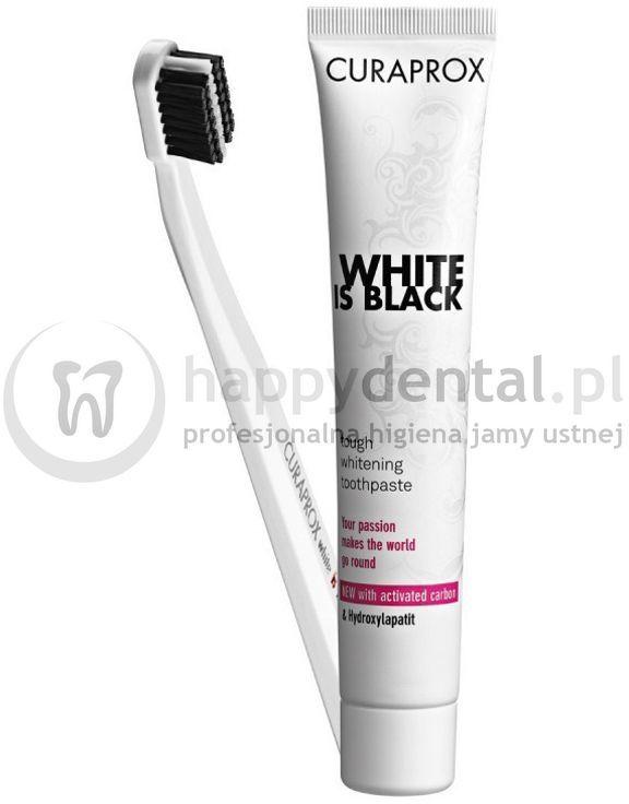 CURAPROX WHITE-is-BLACK szczoteczka + pasta 90ml - wybielająca pasta do zębów z aktywnym węglem + szczoteczka CS 5460
