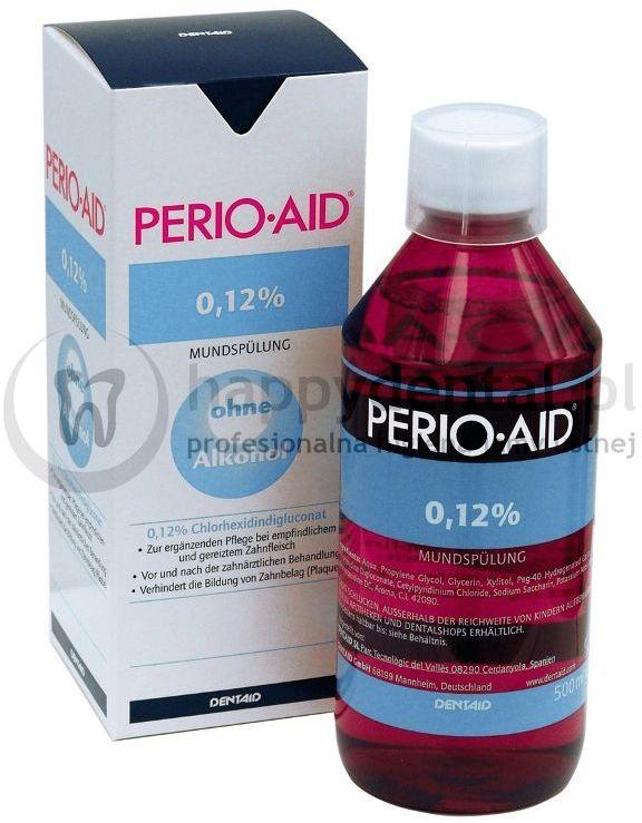 Dentaid PERIO-AID 0,12% CHX 500ml - płukanka dentystyczna zawierająca 0,12% Chlorheksydyny + Chlorku Cetylopirydyny 0,05% (DUŻA)