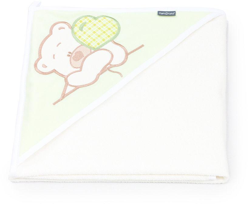 MAMO-TATO Okrycie Kąpielowe z haftem Miś z serduszkiem w zieleni / ecru