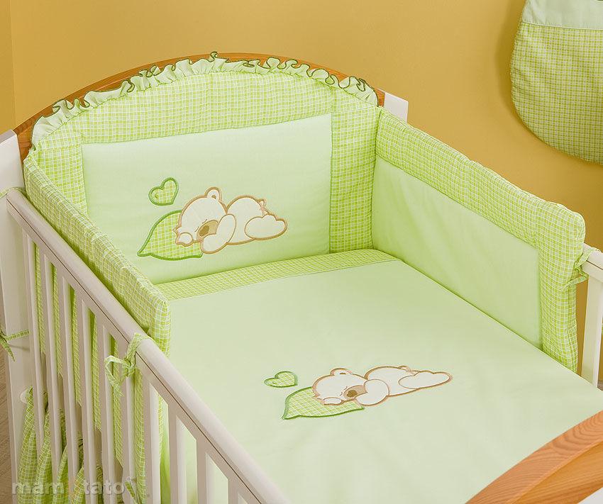 MAMO-TATO pościel 2-el Śpiący miś w zieleni do łóżeczka 60x120cm