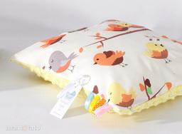 MAMO-TATO Poduszka Minky dwustronna 40x40 Ptaszki kremowe / żółty