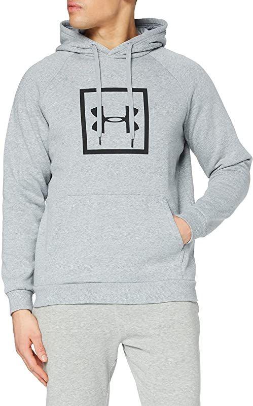 Under Armour męska rywala polarowa pudełko logo bluza z kapturem do biegania z graficznym logo, sweter z kapturem dla mężczyzn z kieszenią szary XL