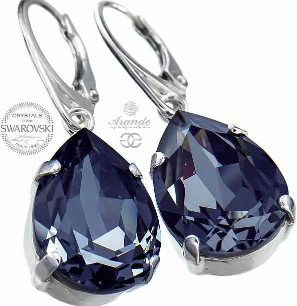 Kryształy piękne kolczyki SILVER NIGHT SREBRO