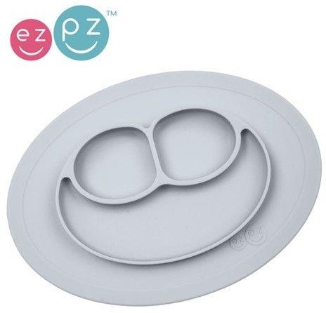 Ezpz - Silikonowy Talerzyk z Podkładką Mały 2w1 Mini mat Pastelowa Szarość