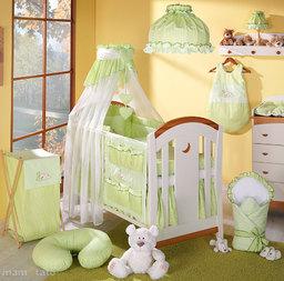 MAMO-TATO pościel 5-el Śpiący miś w zieleni do łóżeczka 60x120cm - Szyfon