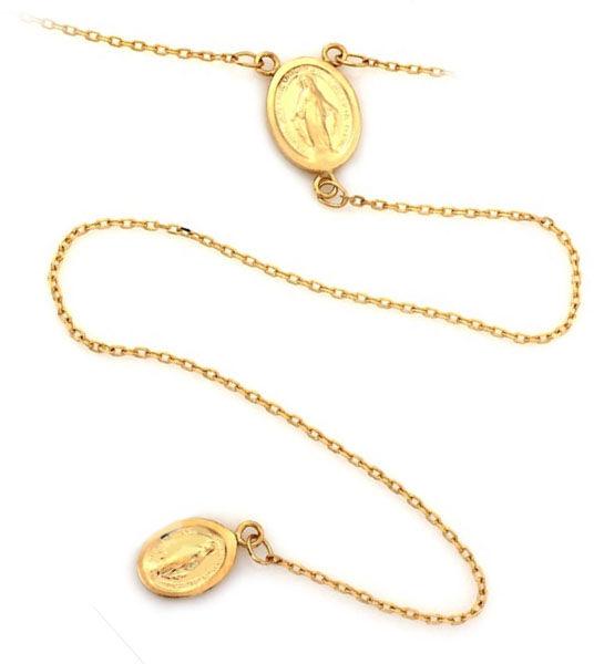 Złoty naszyjnik 585 długi różaniec dwa medaliki