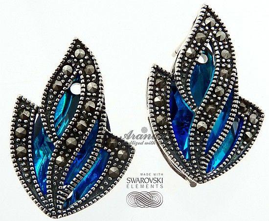 SWAROVSKI piękne kolczyki ADMIRE BLUE SREBRO