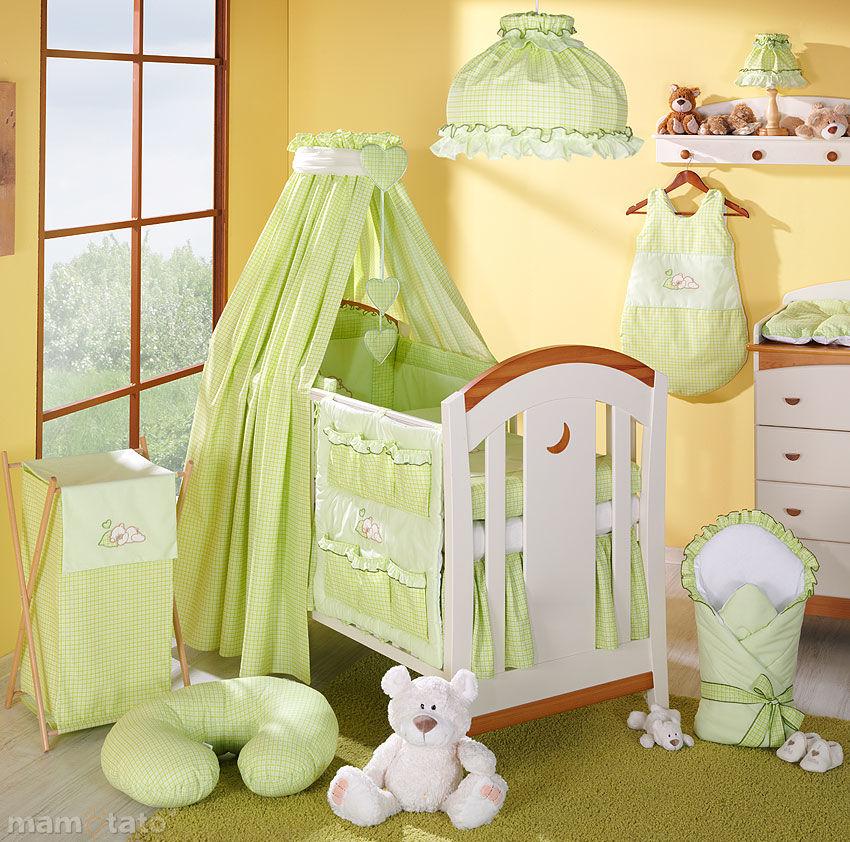 MAMO-TATO pościel 5-el Śpiący miś w zieleni do łóżeczka 60x120cm - Tkanina