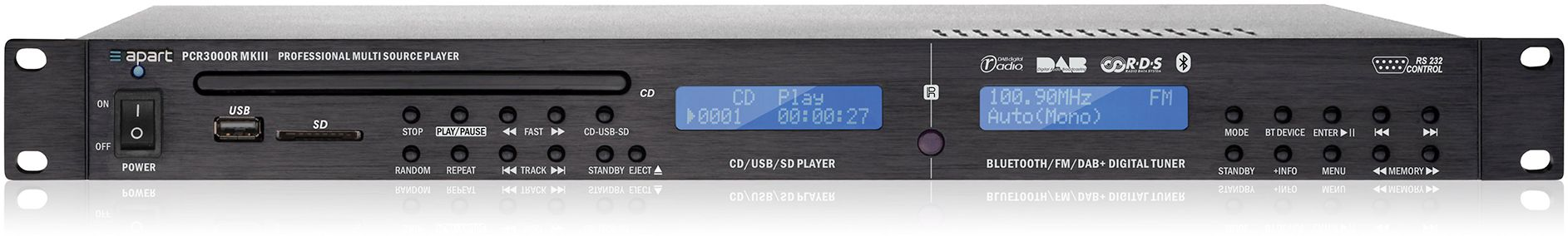Apart PCR3000RMKIII wieloformatowy odtwarzacz audio DAB & FM RDS/CD/USB/SD-card /Bluetooth