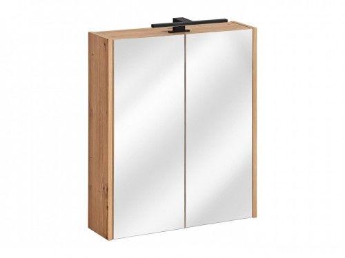 Szafka z lustrem 2D z LED 60x16x72cm Dąb Artisan, Madera Grey 840