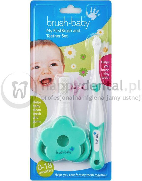 BRUSH-BABY zestaw TeetherSET + FirstBrush - profesjonalny zestaw do pielęgnacji jamy ustnej dzieci w wieku 0-18 miesięcy