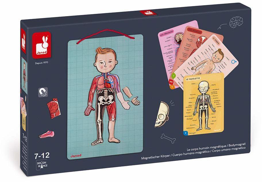 Janod Bodymagnet edukacyjna gra ludzkiego ciała - anatomia, organy, szkielet, mięśnie - 76 elementów magnetycznych - od 7 lat, 12 języków, J05491