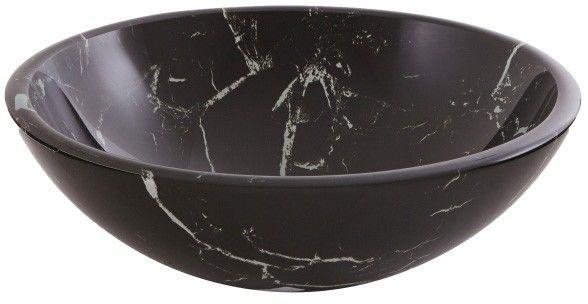 Umywalka nablatowa szklana GoodHome Brora śr. 42 cm czarna