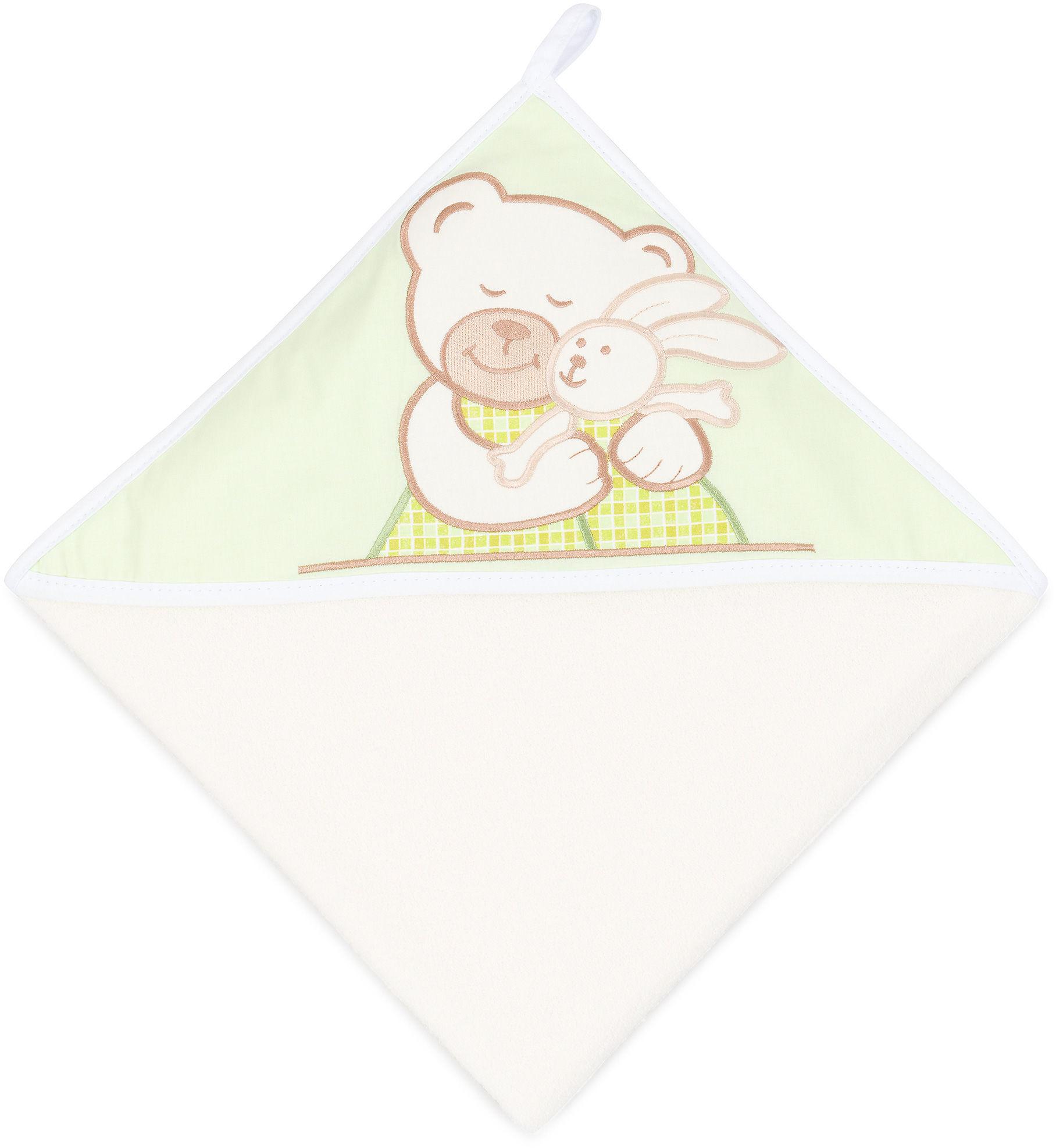 MAMO-TATO Okrycie Kąpielowe z haftem Tulisie w zieleni / ecru