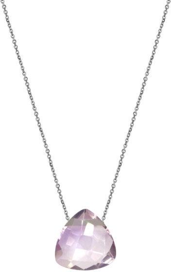 Srebrny naszyjnik 925 kamień ametyst lila Trójkąt