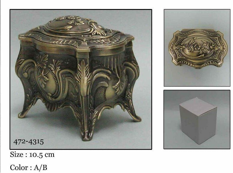 Kasetka, stare złoto, 11x7,5 cm