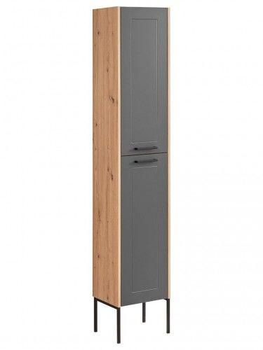 Szafka wysoka 2D z nogami 190x35x30cm Dąb Artisan Szary Madera Grey 800