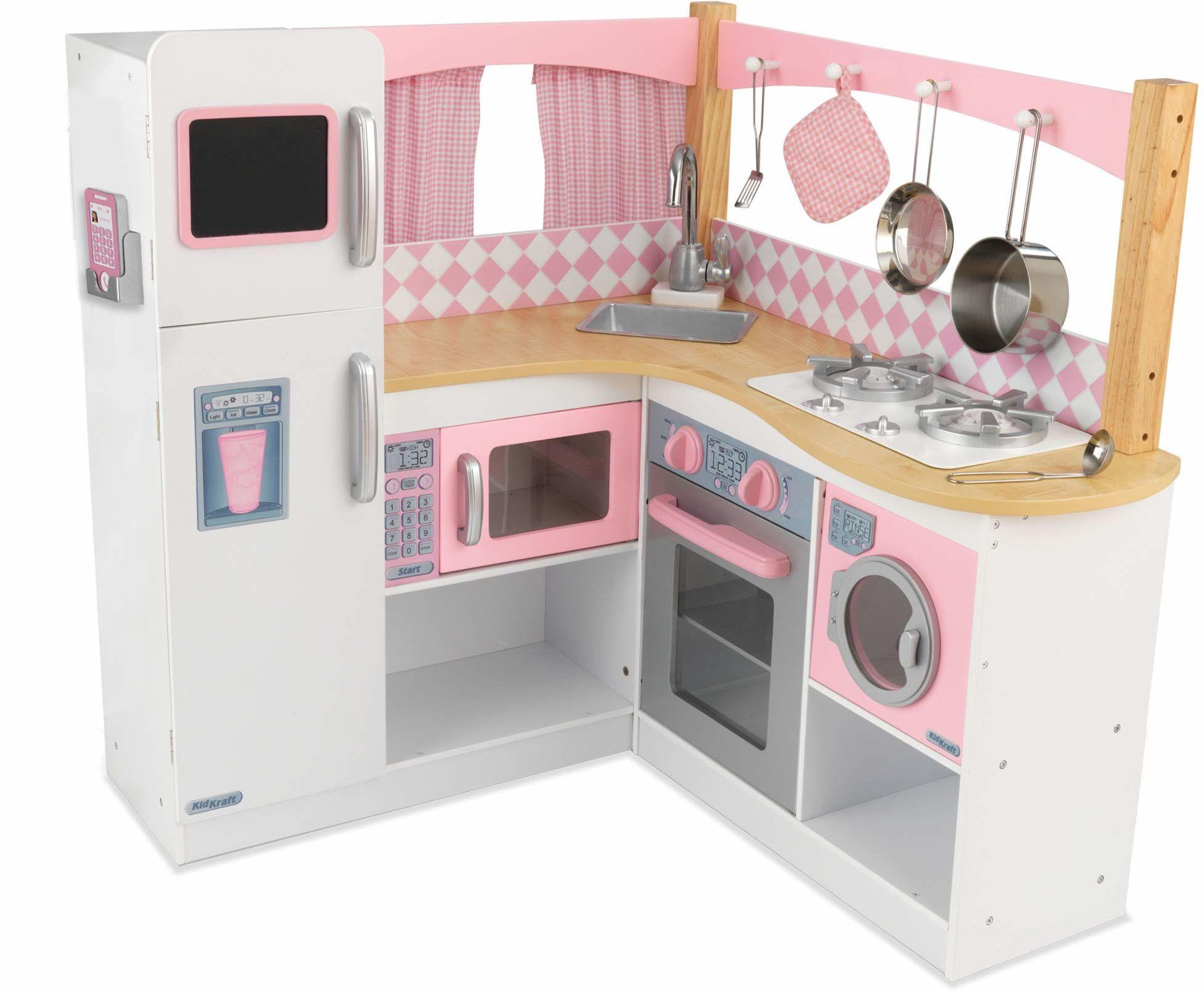 KidKraft 53185 Grand Gourmet narożna kuchnia do zabawy, różowo-biała