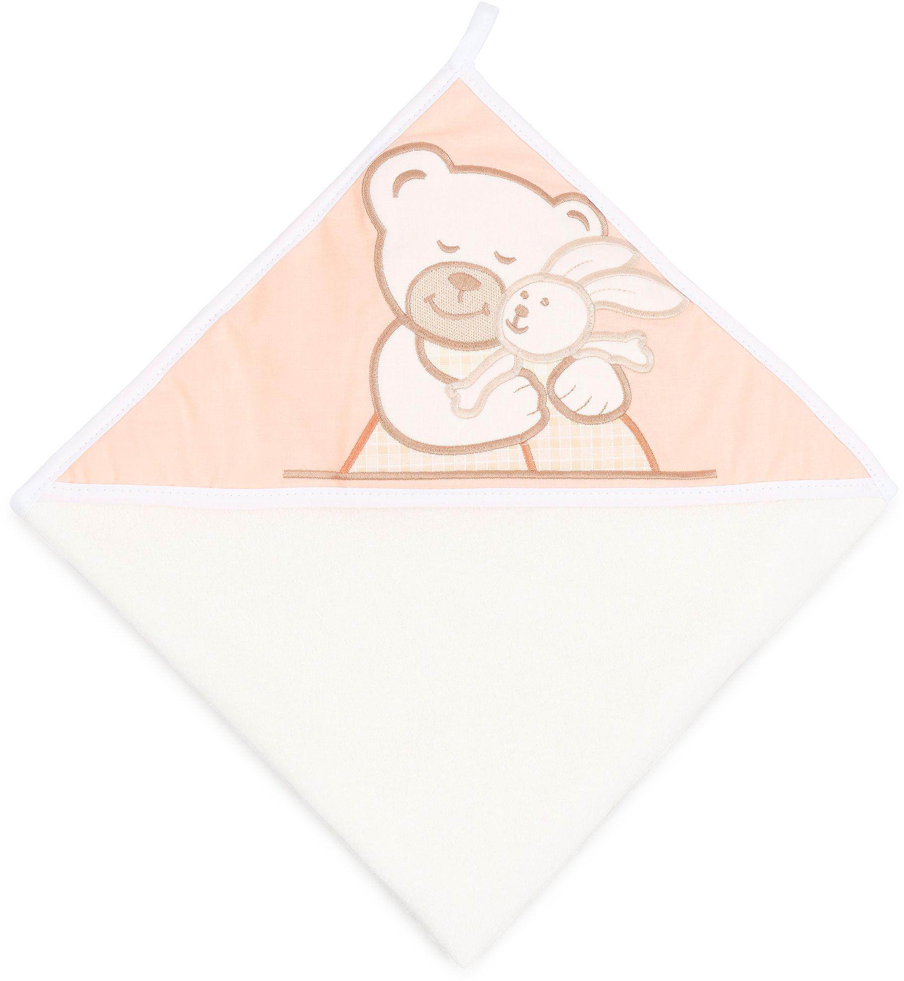 MAMO-TATO Okrycie Kąpielowe z haftem Tulisie brzoskwiniowe / ecru
