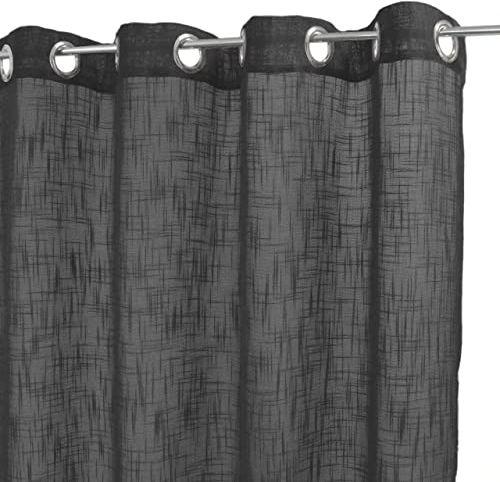 HomeMaison zasłona uniwersalna lniana etamin, poliester, antracyt, 250 x 140 cm