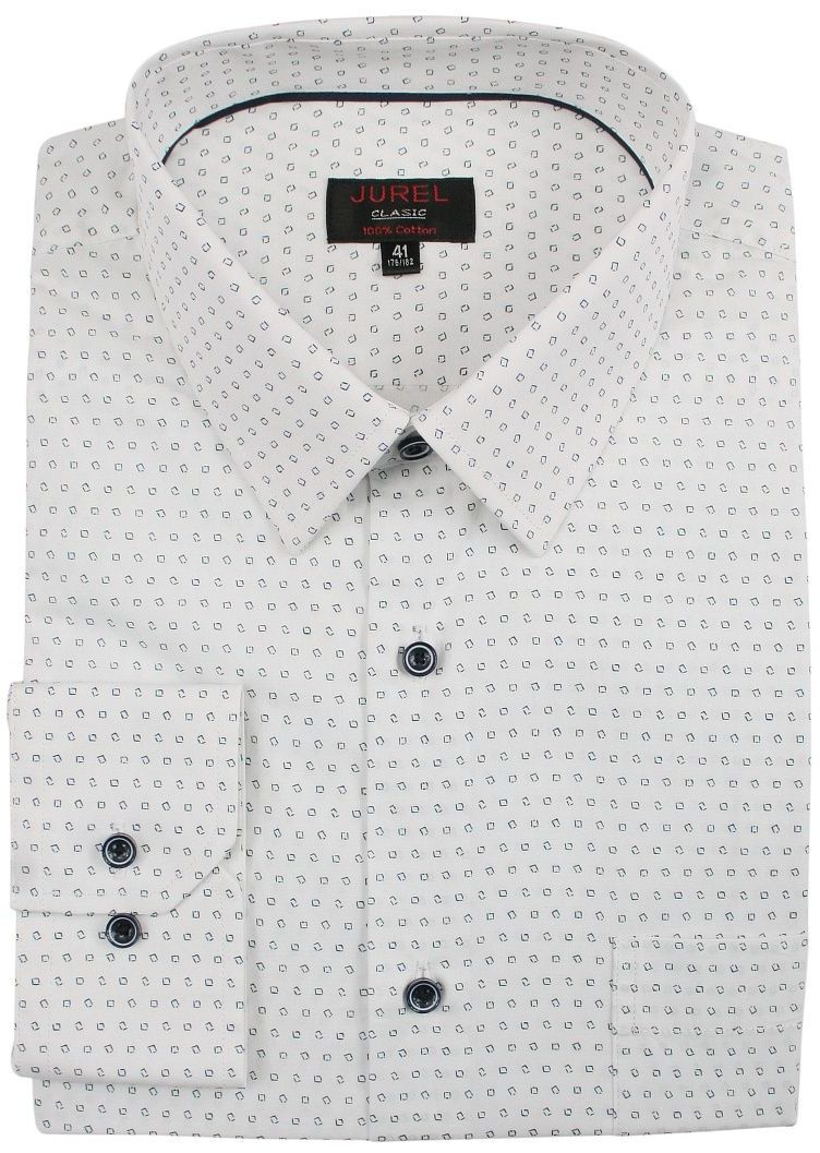 Biała Klasyczna Bawełniana Koszula Męska, Długi Rękaw -JUREL- z Kieszonką, w Granatowy Wzór KSDWJRL0075