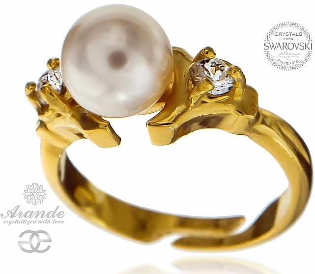 PIERŚCIONEK Kryształy PERŁY ZŁOTE SREBRO CERTYFIKAT