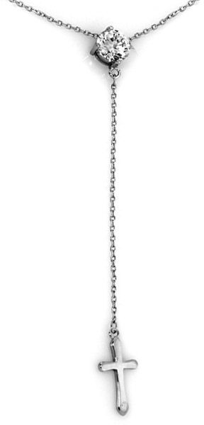 Srebrny naszyjnik 925 krawatka cyrkonia krzyżyk 2,61 g
