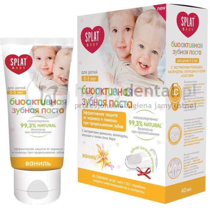 SPLAT BABY (0-3) pasta 40ml (ŻÓŁTA) - bioaktywna pasta do zębów dla dzieci w wieku 0-3 lat o smaku waniliowym + silikonowa szczoteczka