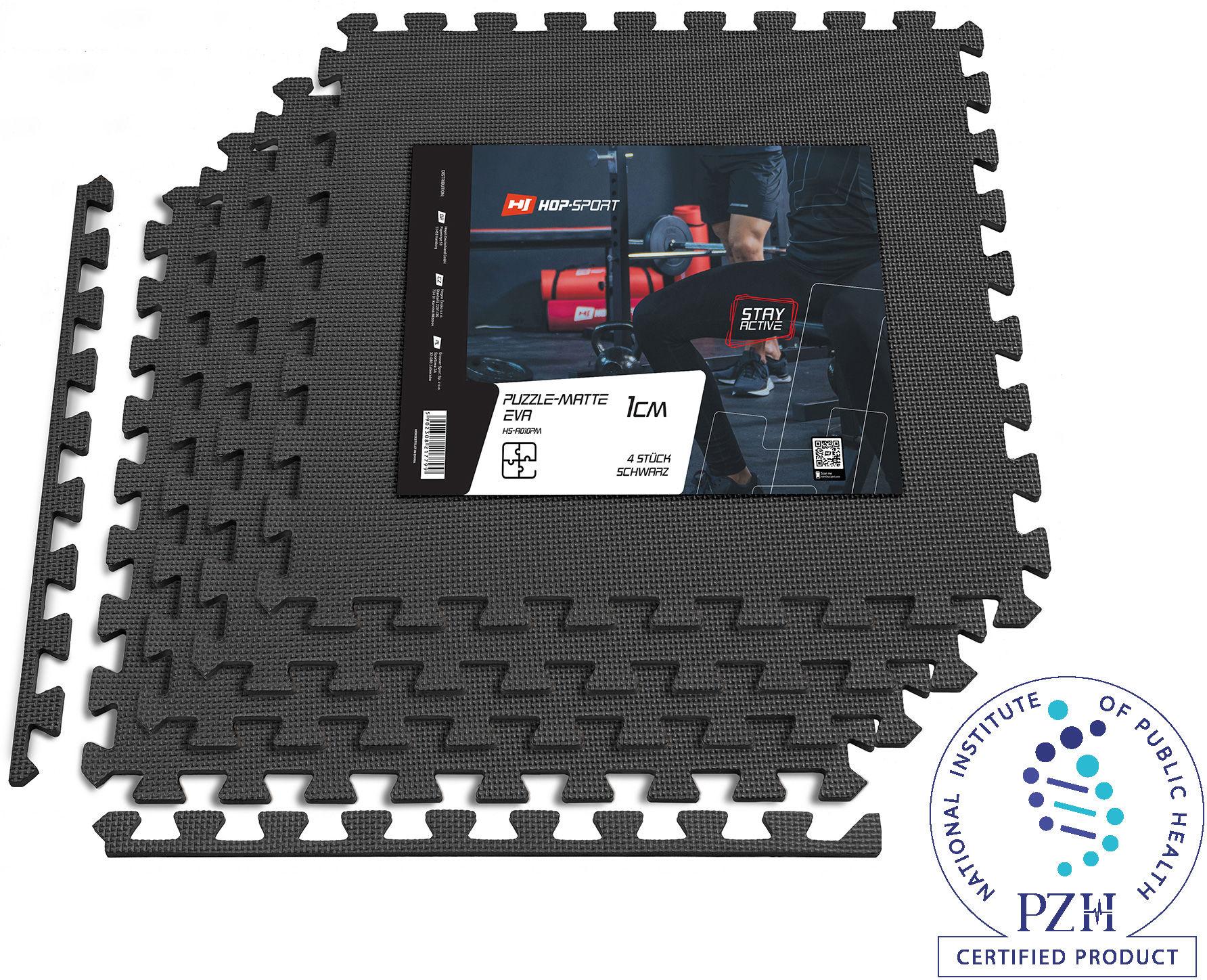 Mata puzzle EVA 1cm czarna - 4 sztuki