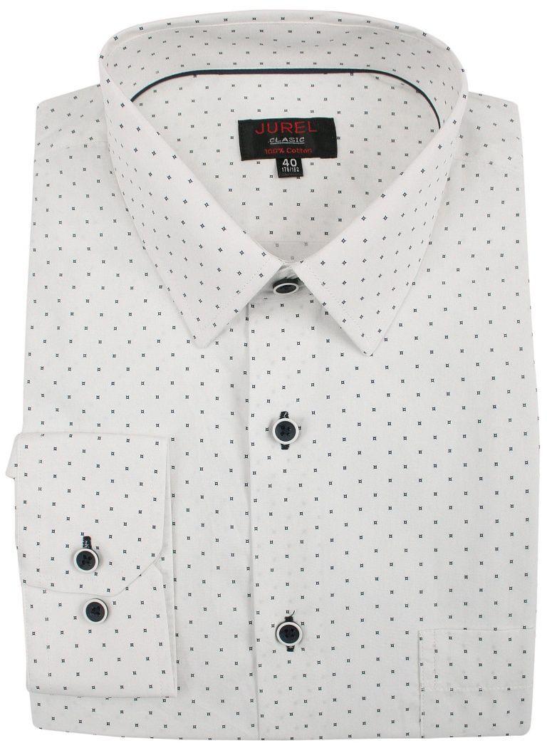 Biała Klasyczna Bawełniana Koszula Męska, Długi Rękaw -JUREL- z Kieszonką, w Granatowe Kwadraciki KSDWJRL0074