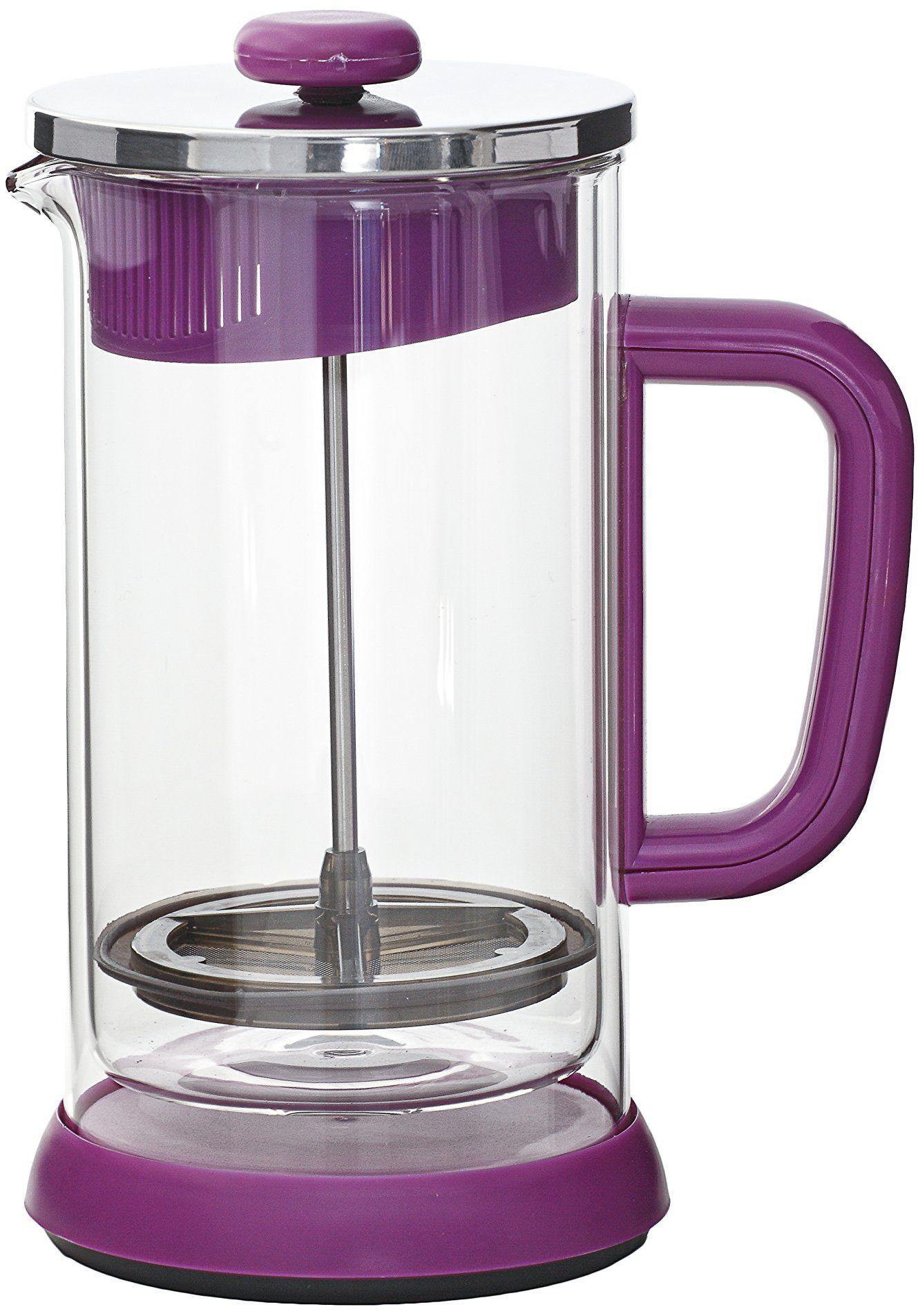 IDELICE PR250 788  ma zaparzacz do kawy z podwójnymi ściankami i 8 filiżankami szkła fioletowego 17 x 12 x 21,5 cm