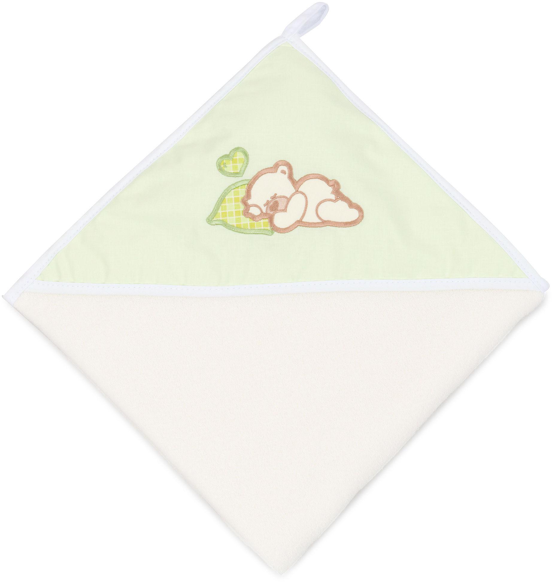 MAMO-TATO Okrycie Kąpielowe z haftem Śpiący miś w zieleni / ecru