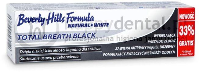 BEVERLY HILLS NATURAL WHITE Total Breath Black 75+25ml - wybielająca pasta do zębów z aktywnym węglem