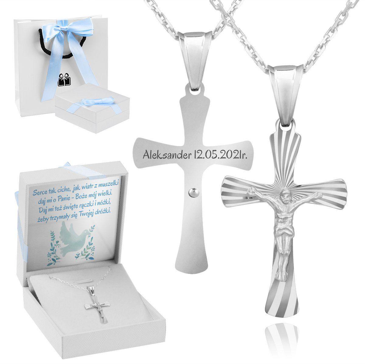 Srebrny 925 Krzyżyk z Jezusem Chrzest Komunia Bierzmowanie Grawer