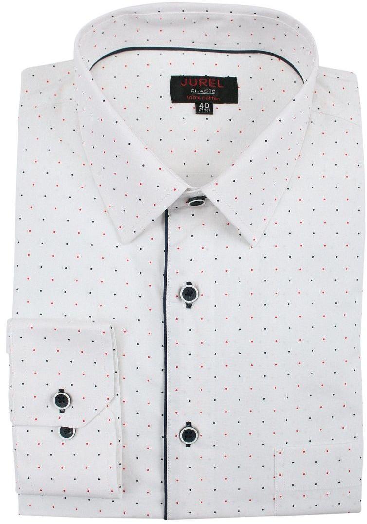 Biała Klasyczna Bawełniana Koszula, Długi Rękaw -JUREL- z Kieszonką, w Granatowo-Czerwone Kropki KSDWJRL0072